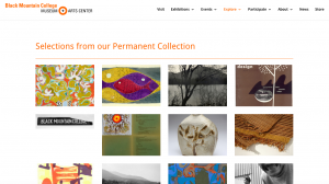 "Screen shot of blackmountaincollege.org, ""Selections from our permanent collection"""